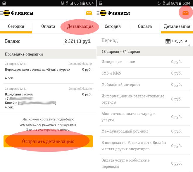 Детализация звонков Билайн через личный кабинет