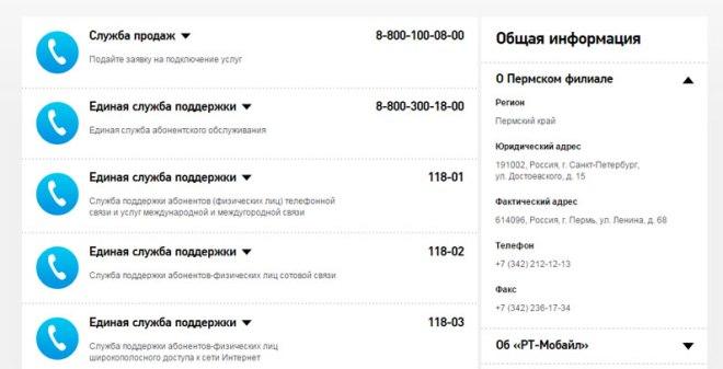 Телефоны службы поддержки Ростелекома