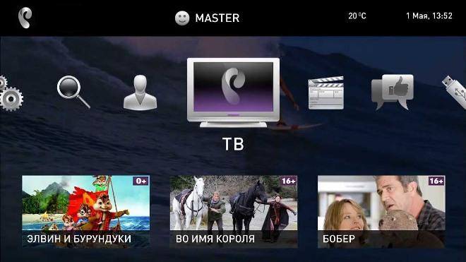 Меню интерактивного ТВ