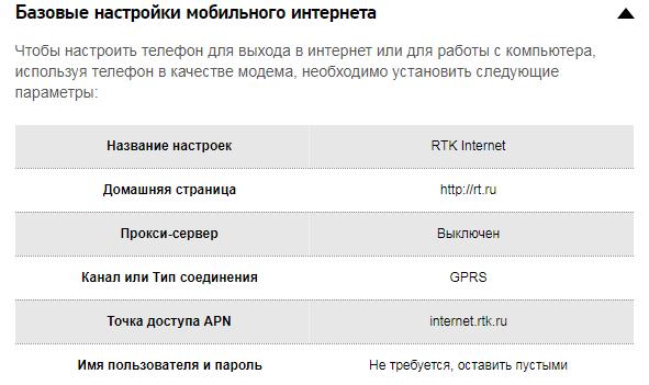Базовые настройки мобильного интернета Ростелеком