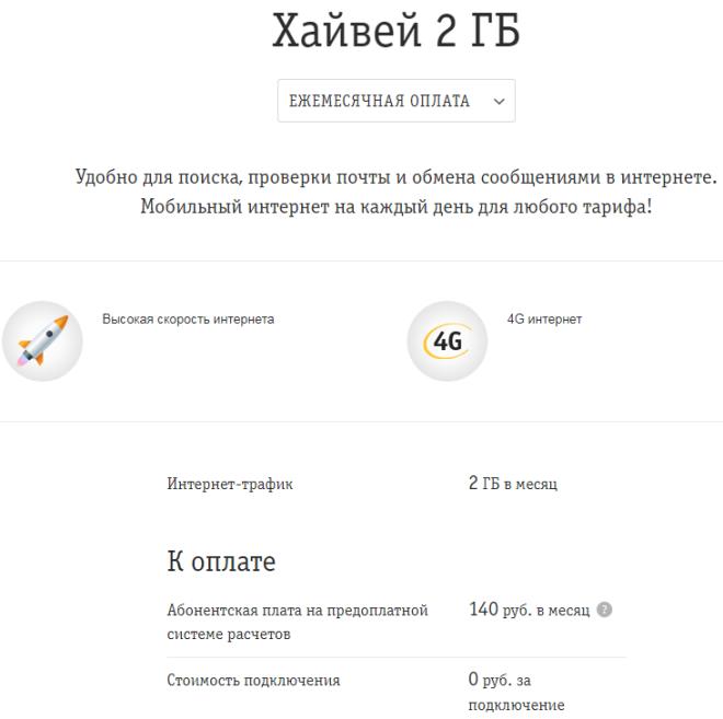 Условия услуги Хайвей 2 ГБ от Билайн