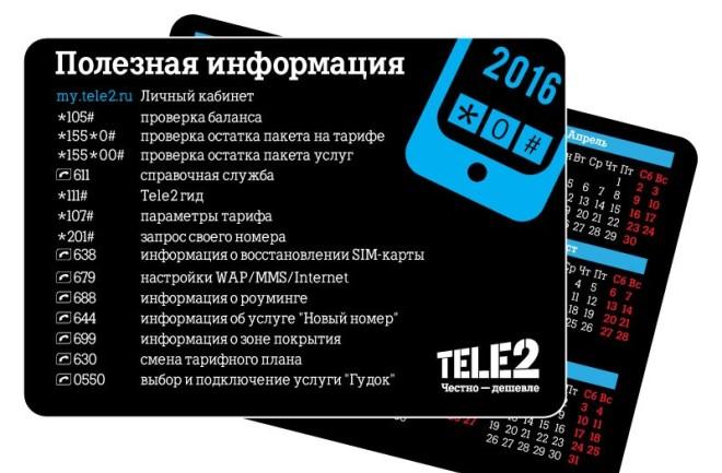Информация по кодам от Теле2