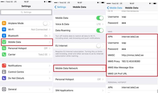 Как настроить ММС на Теле2 на iOS