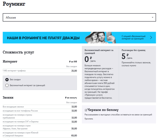 Стоимость звонков Теле2 в Абхазии