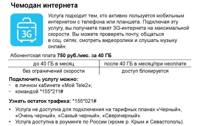 Описание услуги «Чемодан интернета» от Теле2