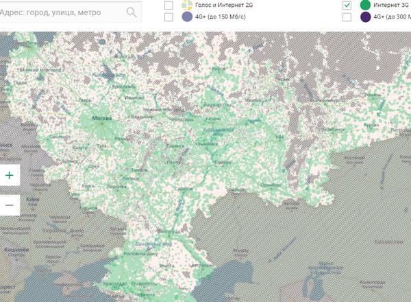 Зеленым цветом помечена территория которую охватывает 3G.
