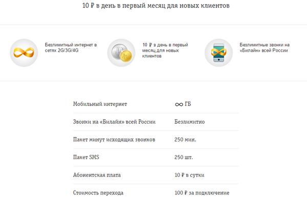 Если хотите безлимитный интернет и звонки по России, выберите тариф от билайна.