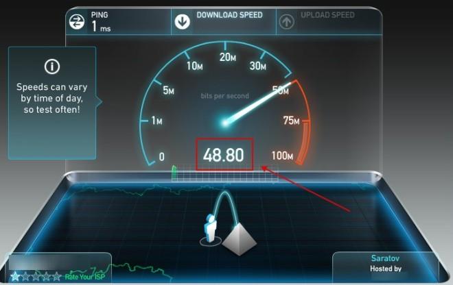 Проверка скорости интернета на SpeedTest