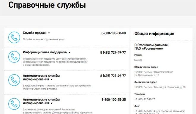 Номера телефонов техподдержки Ростелеком