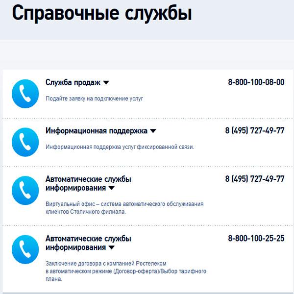 Справочные службы Ростелеком