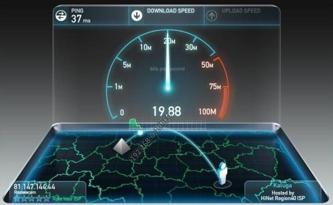 Измерение скорости интернета на Speedtest