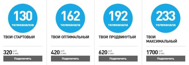 Тарифы на ТВ Ростелеком