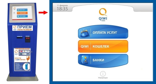 Оплата через терминал Qiwi