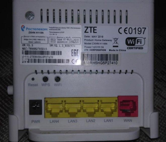 Задняя панель роутера ZTE ZXHN H118N