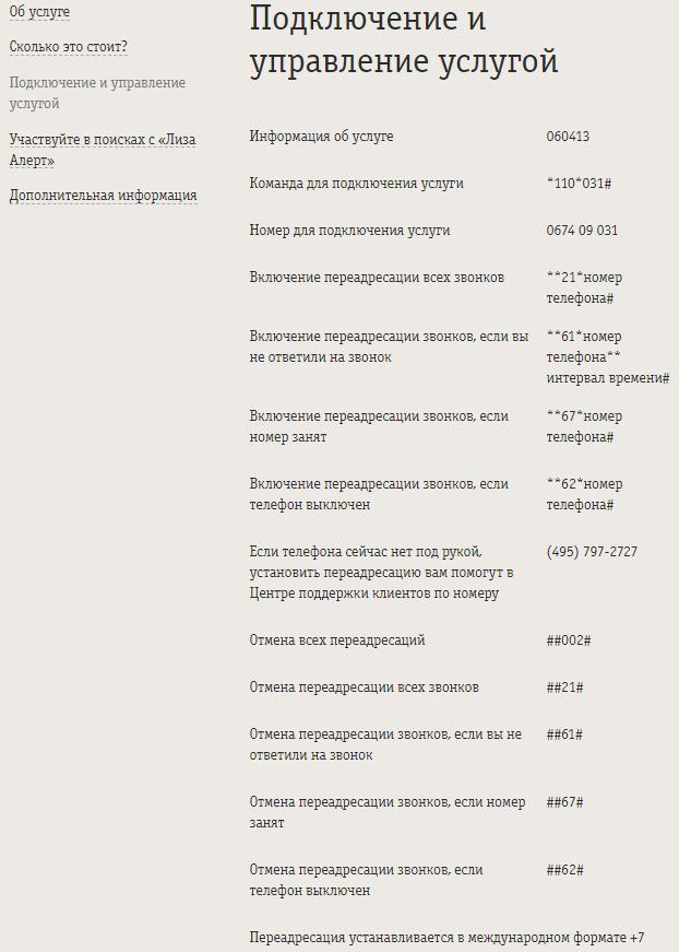 Управление услугой Переадресация от Билайн