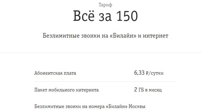Условия тарифа «Все за 150»