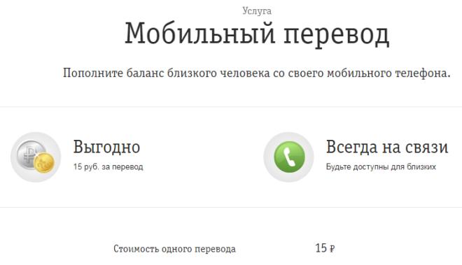 Услуга Мобильный перевод на Билайн